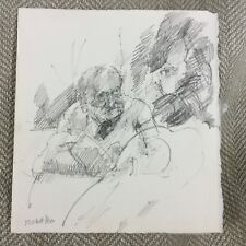Old Man Original Sketch Drawing Michael Fell Royal Academy Contemporary Art