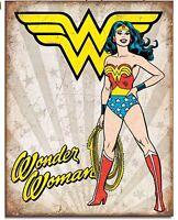 "Wonder Woman DC Comics Superhero Vintage Retro Look Tin Metal Sign 12.5"" X 16"""