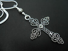 """A LOVELY TIBETAN SILVER  LARGE CROSS/CRUCIFIX NECKLACE ON 18"""" SNAKE CHAIN. NEW."""