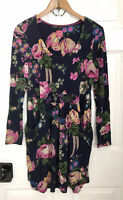 JOULES Tunic Casual Mini Short Dress Navy Blue Pink Floral 14 Long Sleeve Pocket
