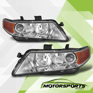 2004-2008 Acura TSX Chrome Projector Factory Style Headlights Pair 2005 2006