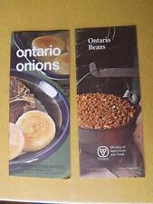 RECIPE BOOKLETS LOT OF 2 ONTARIO BEANS ONIONS MINISTRY AGRICULTURE & FOOD