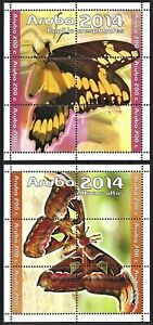 """2014 """"Aruba"""" Butterflies, Farfalle, 2 Souvenir Sheets VF/MNH! CAT 34$ LOOK!"""