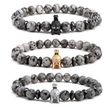 Charm Men Gladiator Helmet Spartan Fighter Beaded Bracelet Gray Moonstone Stone