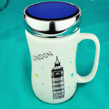 Ceramic Tea Coffee Mugs With Glass Lids Travel Mug Rubber Seal Screw Lid London