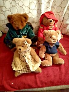 Lot of 4 Stuffed Bears including Paddington R.C.M.P. ,Boyds, Burberry, Vermont