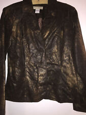 Bamboo Traders Jacket Small Brown Gold Faux Cracked Leather Ladies Juniors Lined