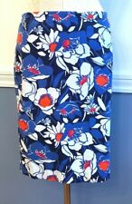 """Size 12 Talbots Straight Pencil Skirt Blue Floral Print Back Zip 22.5"""" Length"""
