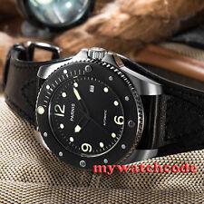 43mm parnis schwarz zifferblatt saphirglas im 8215 automatic herren armbanduhr 427