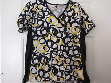 """Women's Scrubs """"Black Star"""" Top Size L, Yellow Black White"""