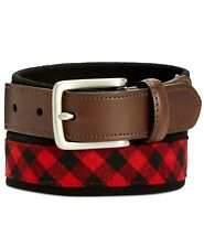 $115 CLUB ROOM Men's RED BLACK CHECK HARNESS BUCKLE WEBBED COTTON DRESS BELT 38