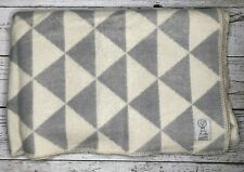 "Lana Lino Wool Blend Blanket Throw Gray Cream Made In Lithuania 71""x52""     1662"