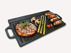 Homiu Cast Iron Griddle Pan Reversible Double Sided and Non-Stick Summer Meat