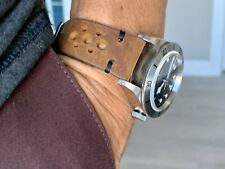24mm BROWN Vintage Racing Crazy Horse Leather Watch Strap Band BLACK Stitch