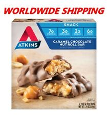 Atkins Caramel Chocolate Nut Roll Snack Bars 7.76 Oz 5 Ct WORLDWIDE SHIPPING