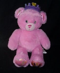 BUILD A BEAR DISNEY PRINCESS PINK TEDDY W/ CROWN STUFFED ANIMAL PLUSH TOY BABW