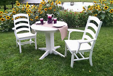 "Poly Lumber Wood Patio Set- 33"" Round Table and 2 Ladderback Arm Chairs - Amish"