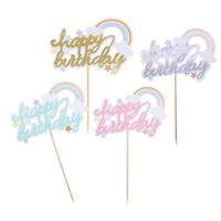 Happy Birthday Cake Toppers Glitter Calligraphy Bling Sparkle Decoration Sign