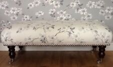 A Quality Long Footstool In Laura Ashley Iona Silver Fabric