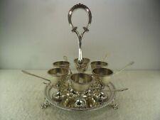 Victorian Solid Silver Egg Cruet Set Cup Stand & Spoon Holder, Barnards, London