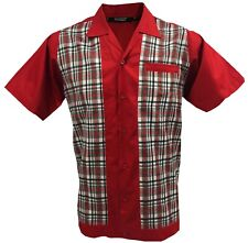 Rockabilly Fashions Men's Shirt Retro Vintage Bowling 1950 1960 Red White Grey