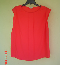 NWT TAHARI ASL CORAL PINK CAREER PLEATED BLOUSE SIZE L $59