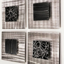 Contemporary Set of 4 Abstract Metal Wall Art Accents by Jon Allen - Freestyle