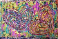 "tableau street art abstrait moderne  ""love For everything ""60X80 CM SIGNE"