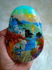 OOAK Hand Painted Landscape On Natural Rock Stone Art Gift Deco Paperweight A153