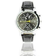 Fashion Casual Sports Watch PU Leather Wristwatches Men Sports Watches Black