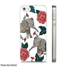 ELEPHANT FLORAL CUTE STUNNING CASE FITS  IPHONE 4 4S 5 5S 5C 6 6S 7 8 SE PLUS X