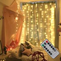 300 LED Fairy String Lights In/Outdoor Curtain Window Wedding X'mas Party Decor