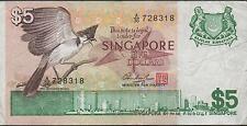Singapore $5  ND. 1976  P 10  Prefix A/36 Circulated Banknote