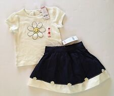 NWT Gymboree Flower Showers 3 3T Smiling Daisy Applique Tee & Navy Flower Skirt