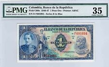 COLOMBIA  BANKNOTES $1 1947 F SERIES PMG CERTIFIED 35