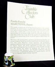 Lovely Marutoyo Japan Fine Bone China Thimble ~ Panda Family