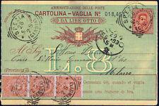 Cartolina vaglia da Lire OTTO + affrancatura aggiuntiva cent.60