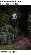 NUOVA LUCE LED BIANCA IN VETRO COLORATO DA ESTERNO EFFETTO LAMPADA SOLARE ALIMENTATO POST-Fiore