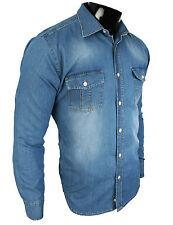 Rock Creek Jeanshemd DENIM Langarm Jeans Blau Stonewashed RC-04 NEU