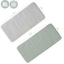 Extra Long Non Slip Bath Mat White Grey 90cm x 43cm Cushioned XL Long Shower Mat