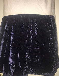 Ralph Lauren Galahad Rich Heavy Blue Velvet King Bedskirt Dust Ruffle Rare Vtg