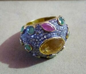 925 Sterling Silver Handmade Ruby,Emerald,Sapphire Gemstone RoseCut Diamond Ring