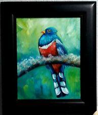 Yvette Andino Art original oil bird painting, Cuban trogon, tropical bird 10x8