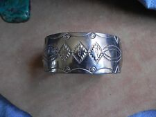 Stamped Sterling Silver Cuff Bracelet FEATHER design by Melissa Yazzie Navajo
