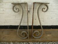 Vintage Pair Heavy Strong Support Wall Brackets Shelf Beam Sign Architectural