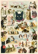 Cats Collage Feline  Poster Cavallini & Co 20 x 28 Wrap