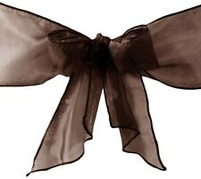 LA Linen 10-Pack Organza Sashes Chair Bows, Brown