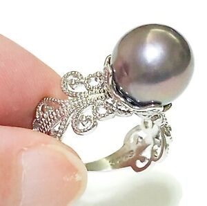 Natural Black Purple Green 11.5-12mm Edison Cultured Round Pearl Ring Size 7 - 8