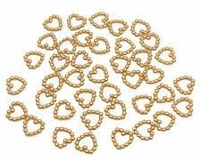 200 GOLD PEARL HEART SHAPED DOUBLE SIDED 11MM TABLE DECORATION SCATTER BEADS