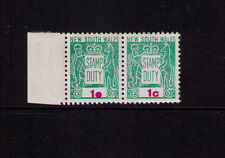 NSW 1966 1c Decimal STAMP DUTY Revenue- overink red flaw '10' for '1c'-MUH pair
